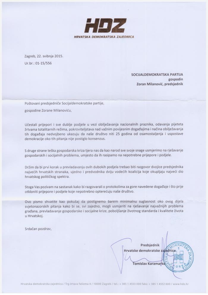karamrkovo pismo milanoviću