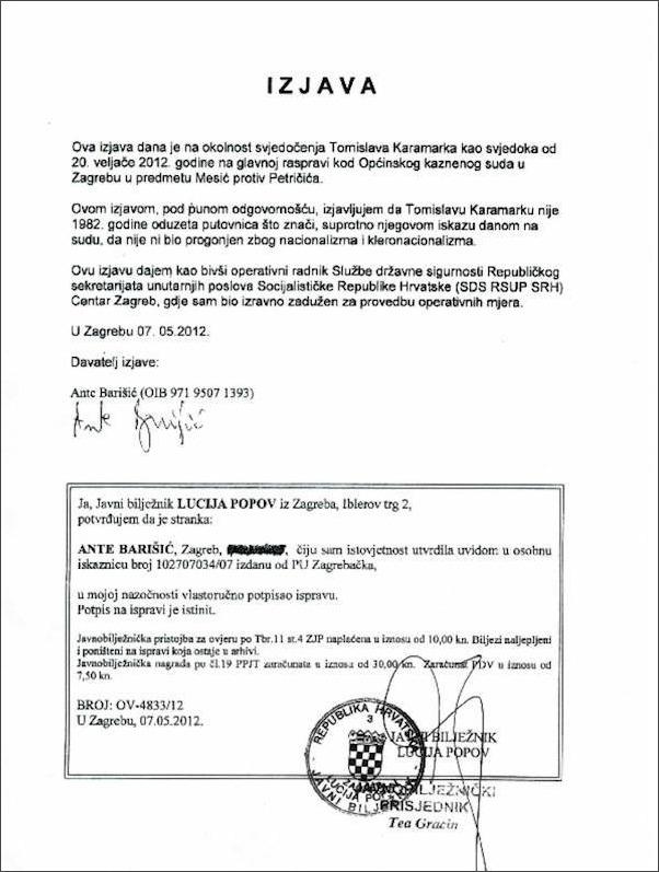 barišić, izjava o Karamarku