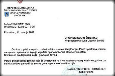 petrina, pismo sudu