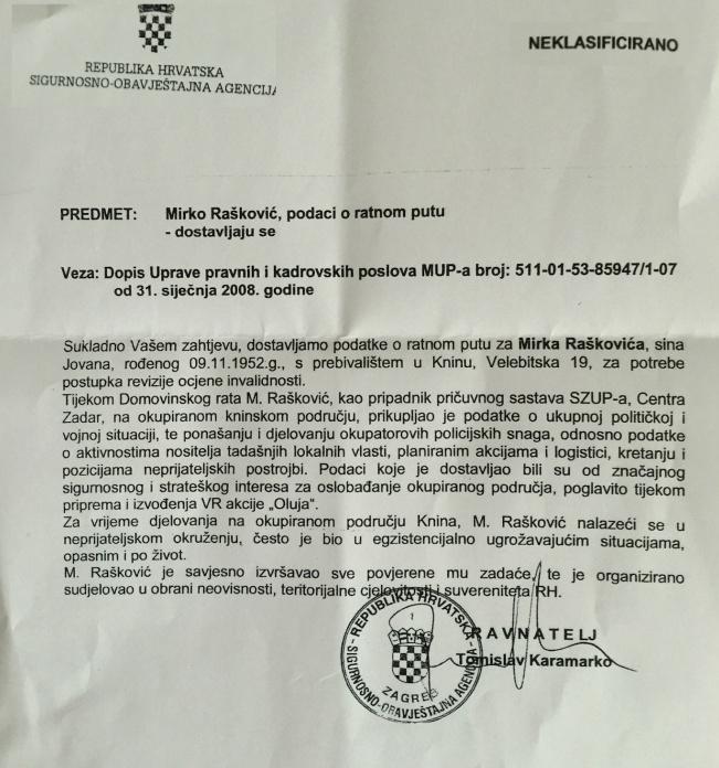 rašković mirko, dokument