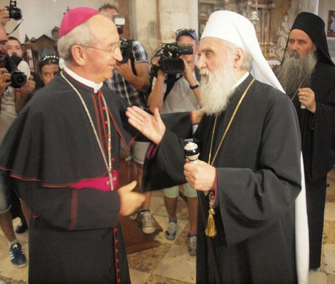 Predsjednik HBK, zadarski nadbiskup Želimir Puljić i patrijarh srpski Irinej, vrhovni poglavar Srpske pravoslavne crkve