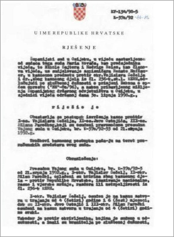 šešelj, presuda dokument