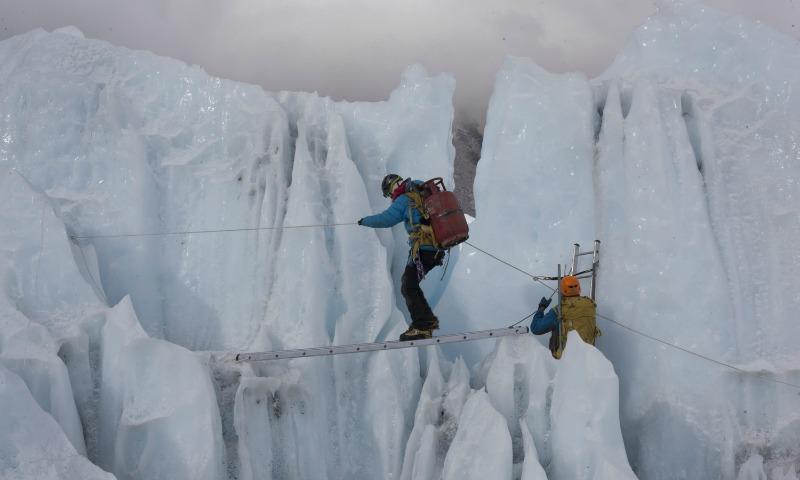 Sherpas training in Khumbu Icefall.