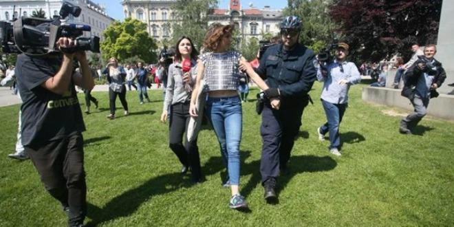 hod za život, uhićenje protuprosvjednika