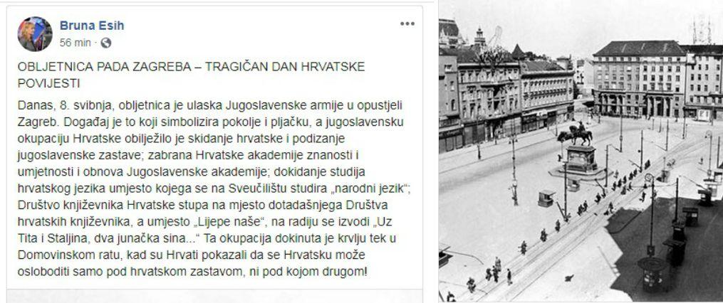 """PRISJEĆANJE NA ŽRTVE ZAGREBA NA DAN """"OSLOBOĐENJA""""OD HRVATA Bruna-objava-zagreb-xp"""