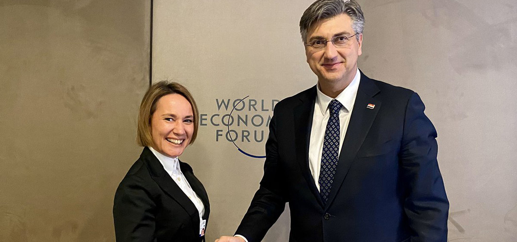 Andrej Plenković i Iskra Reić na sastanku u Davosu