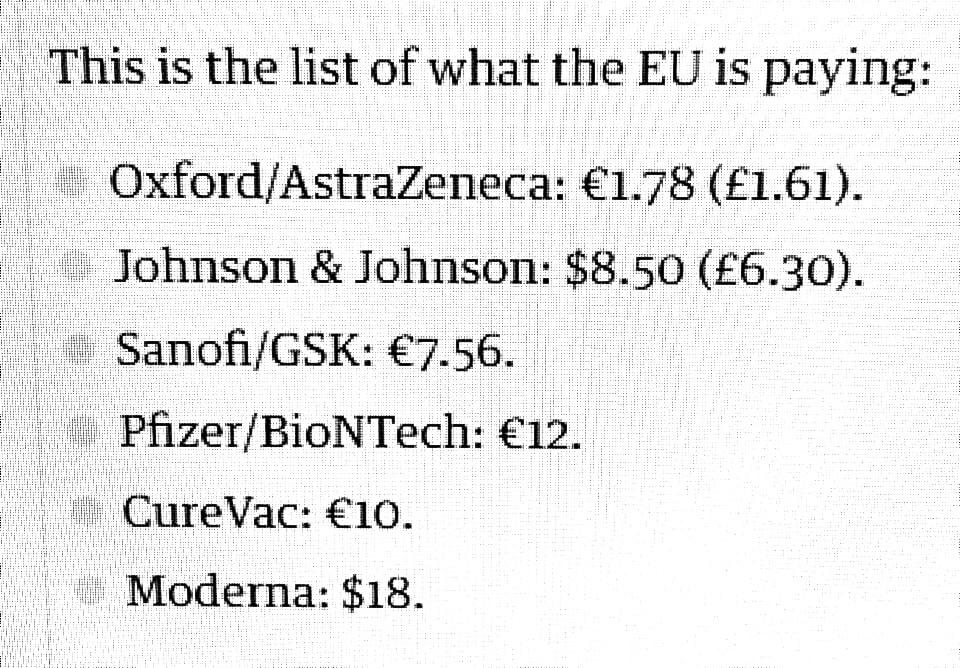 Cijene cjepiva u Europi i SAD-u